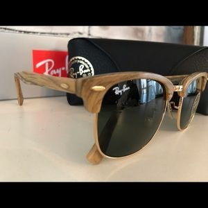 Ray-Ban NWT Authentic Wood Clubmaster G-15 lens